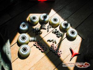 Entretien des rollers, roues, roulements, visseries, entretoises et réhausseurs.