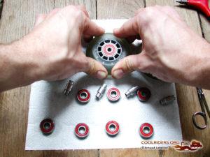 Clipsage des roulements de roller par pression sur la roue