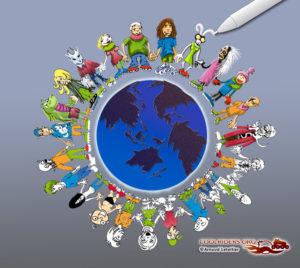 Planète roller, illustration en cours pour les voeux 2009