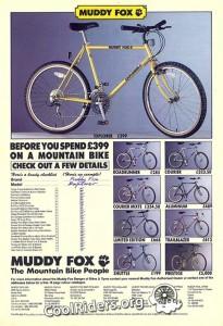 Pub Muddy Fox parue en juin 1988 dans Bicycle Action magazine